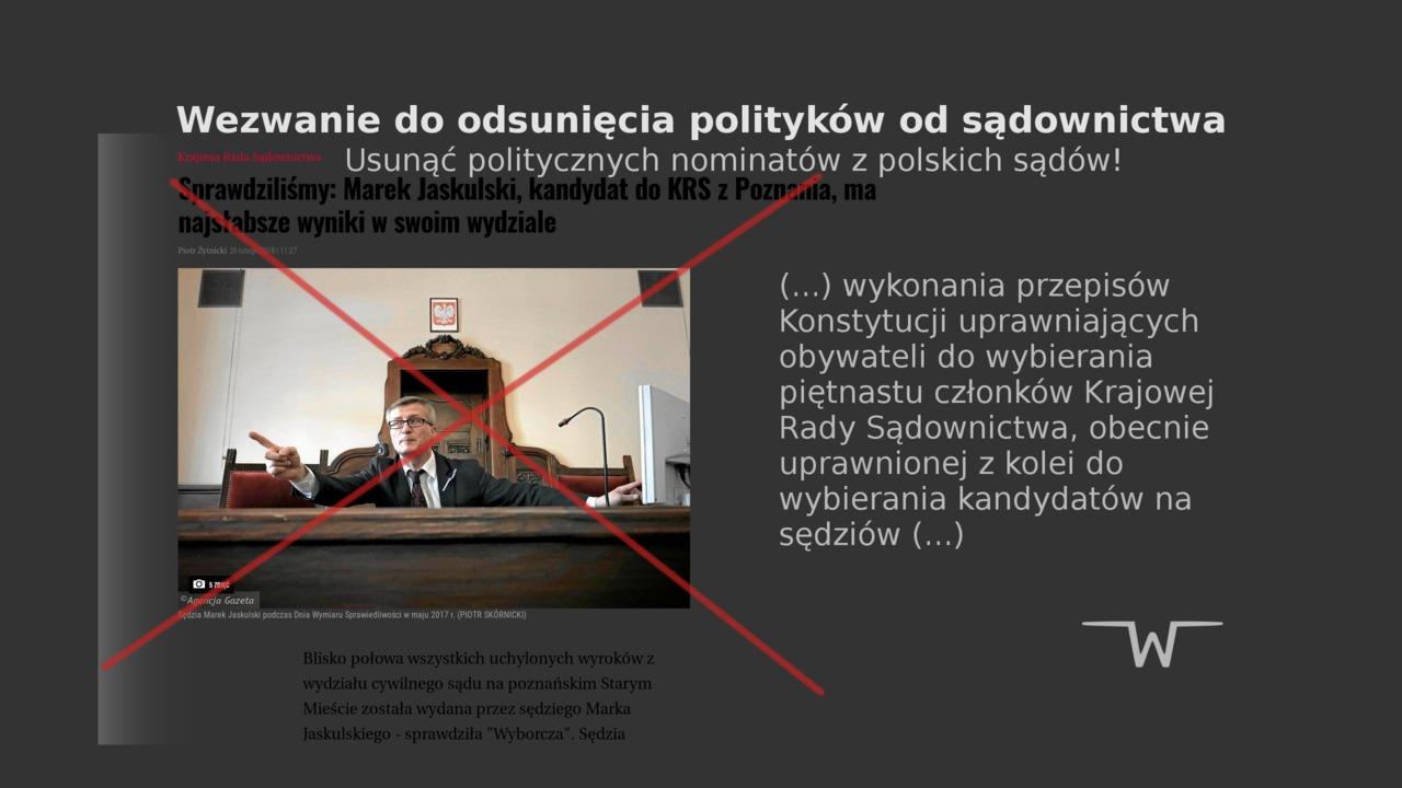 Wezwanie do odsunięcia polityków od sądownictwa