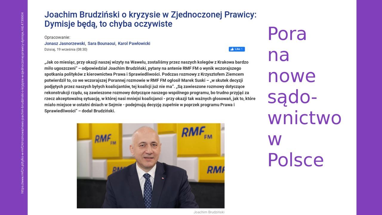 Wezwanie do budowy demokratycznego i praworządnego sądownictwa w Polsce